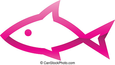Pink Fish Icon - Illustration of Pink Fish Icon isolated on...