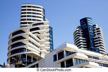 Abstract Closeup View of Modern Building and Sky - abstract...