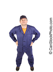 Man in blue working suit. Isolated on white background