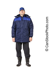 Man in winter work wear. Isolated on white background.