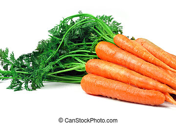 carrots with leaves - Bunch of fresh carrots with leaves on...