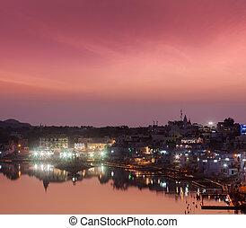Sacred Puskhar lake (Sagar) and ghats of town Pushkar in...