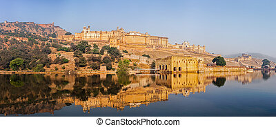 Panorama of Amer (Amber) fort, Rajasthan, India - Famous...