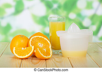 Orange slices, glass and juice extractor against foliage