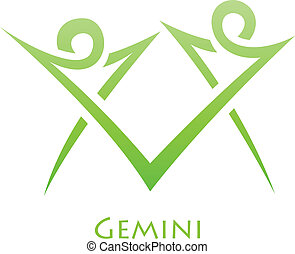 Simplistic Gemini Zodiac Star Sign - Illustration of...