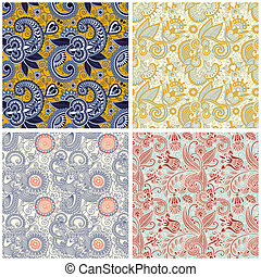 collection of vintage floral seamless pattern