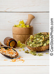 Homeopathic medicine - Dried medicinal plants, herbal tea...