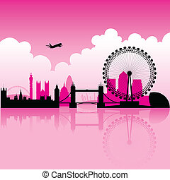 London Magenta Skyline - Illustration of London Magenta...