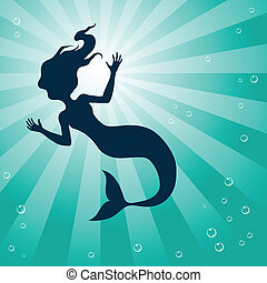 Mermaid Underwater - Illustration of Mermaid Underwater...