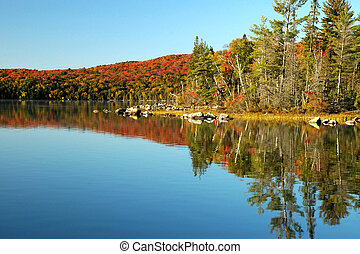 Beautiful lake reflections in the fall