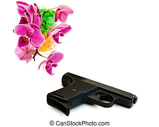 pink orchid and gun - gun with pink orchid flower in glass...