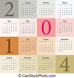 colorful calendar 2014. vector illustration