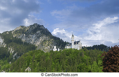 german castle - view on the famous Neuschwanstein castle in...