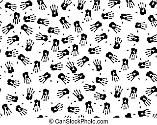hand prints - seamless illustration of black hand prints...
