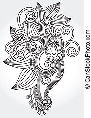 black and white original hand draw line art ornate flower...
