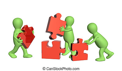 Three puppets with puzzles - Conceptual image - success of...