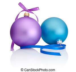 Purple and blue Christmas Ball with ribbon bow Isolated on...