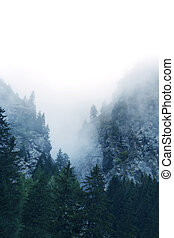 Fog in the Alps, Switzerland - Fog in the mountains Alps,...