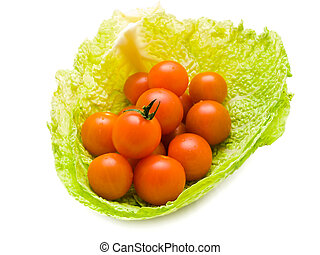 tomatoes in cabbage - tree small tomatoes in the cabbage...