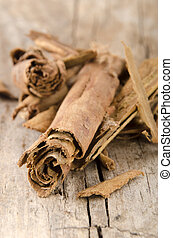 cinnamon on an old wooden table