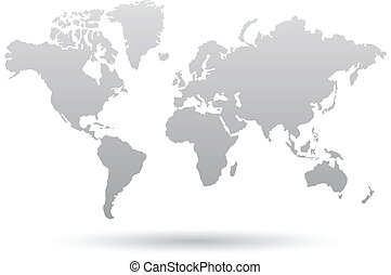 Gray World Map - Illustration of Gray World Map isolated on...