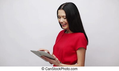 businesswoman or student with tablet pc - office, business,...