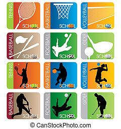 desporto, escola, Insignias, jogo