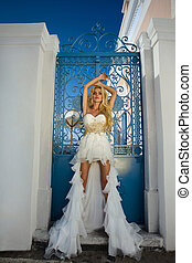 The beautiful bride in a wedding dr