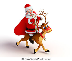 santa with reindeer - 3d rendered illustration of santa with...
