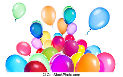 flying balloons isolated on a white background