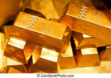 Gold bars - Close up shot of pure gold bars
