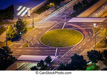 Elevated view of German road junction Munich, Bavaria,...