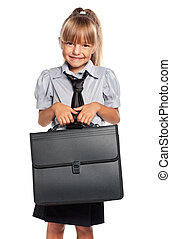 Little girl with briefcase - Little girl in school uniform...