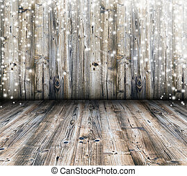 Old wood texture with snow flakes