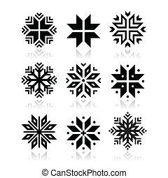 Christmas, winter snowflakes icons - Snowflakes icons set...