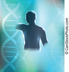 Human silhouette and DNA chains at the background. Health...