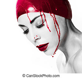 Dramatic portrait of a bleeding woman - Dramatic artistic...