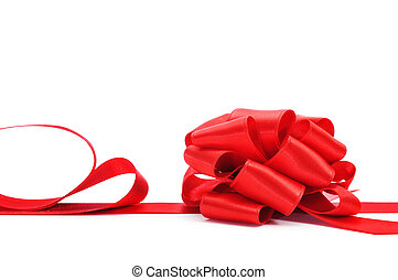 ribbon bow - a red satin ribbon with a bow on a white...