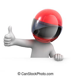 racer with thumb up. image with a work path