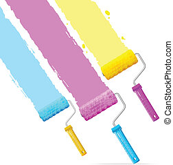 Vector roller brushes with CMYK paint - Isolated on white