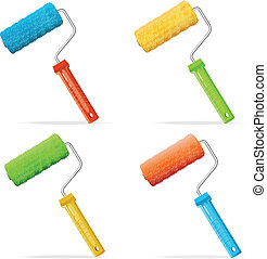 Vector roller brushes set with colors paint