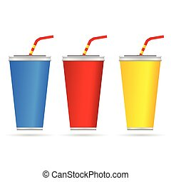 drinking glasses color vector illustration