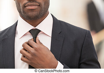 White Collar Worker Adjusting His Necktie - business man...