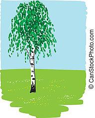 birch - Birch, green grass, flowers and blue sky