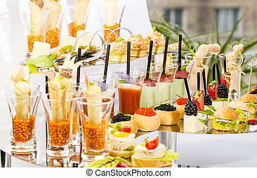 canape with meat vegetables and seafood