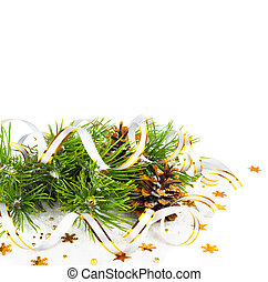 Christmas fir branch with pine cones, gold streamers and...