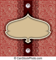 vintage template with diamond jewel on floral background