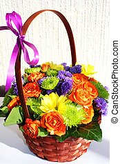 Flower arrangement (ikebana) - A close-up photo of flower...