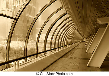 Tinted image of modern glass corridor
