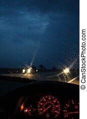 Night, rain, dashboard - A photo of night, rain, dashboard